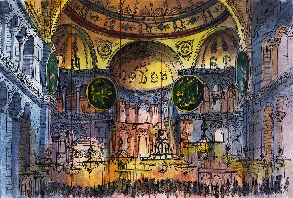 Hagia Sophia Interior / Sketchbook / Watercolor By MsRiin ...