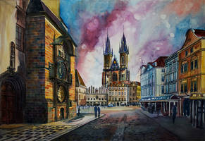 Prague - Traditional art. Watercolor. 55x75 cm