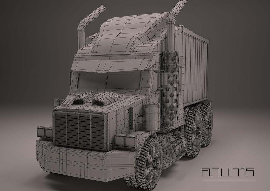 Mini Semi Truck Wireframe by licifer-of-art