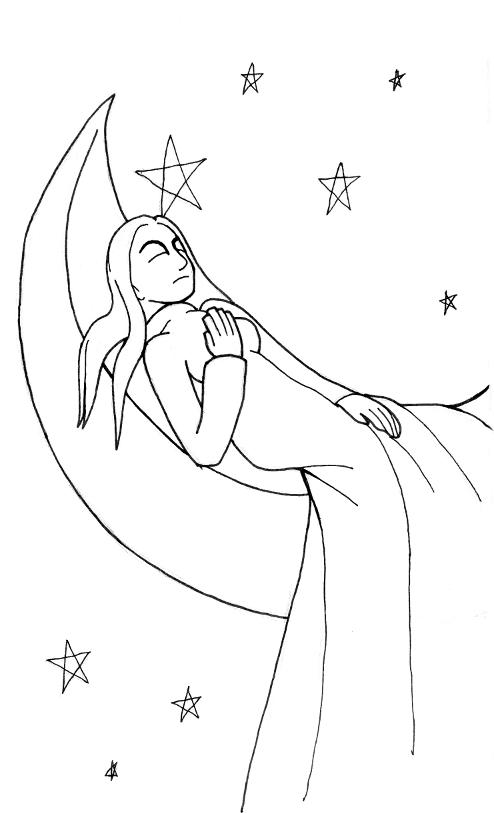 Sleeping Moon Maiden by Xeroxed-Animus