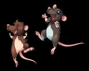 Jumping happy ratties (vector)