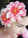 Pretty pink hair-flowers