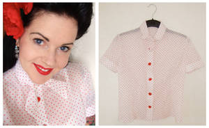 1950's polka dot blouse by rascalkosher