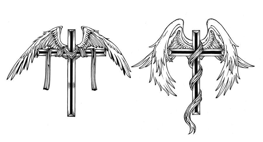 Cross With Angel Wings Tattoo: Cross And Angel Wings By KidScribbles On DeviantArt