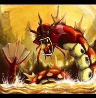Rage of Red Gyarados by KidScribbles