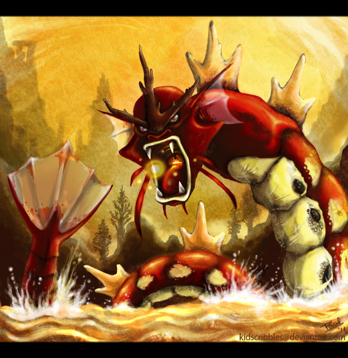 Rage of Red Gyarados by KidScribbles