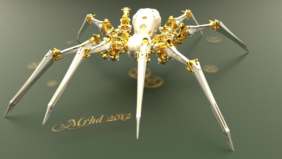 golden mechanical spider by mrhd