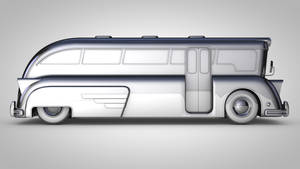 Chrome Bus Cinema 4D Desktop Wallpaper (2560x1440) by botshow