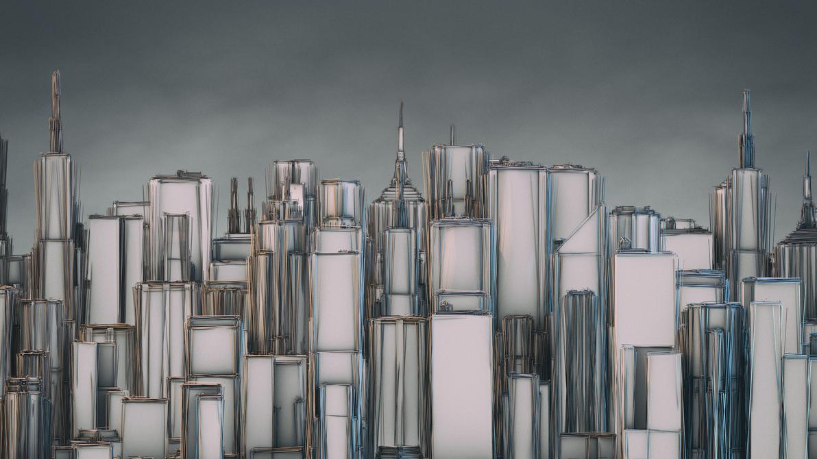 City Skyline HD Wallpaper 2560x1440 (C4D PSD) by botshow