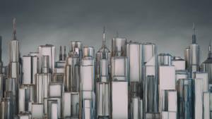 City Skyline HD Wallpaper 2560x1440 (C4D PSD)