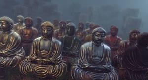 Buddha Statues in Field Cinema 4D Redshift SP
