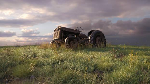 Old Tractor Grassy Landscape