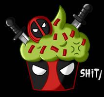 Deadpool cupcake by Maleiva