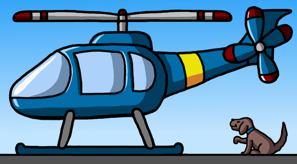 Helicopter and dog by Maleiva