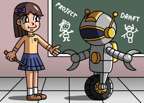 The schoolgirl and the robot by Maleiva