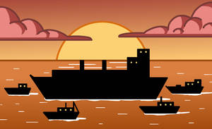 Ships in the sunset by Maleiva