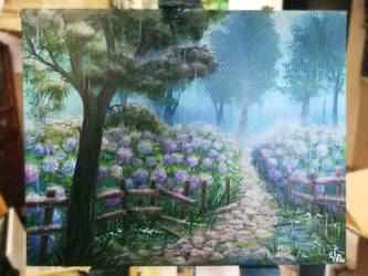 Hydrangeas in the rain