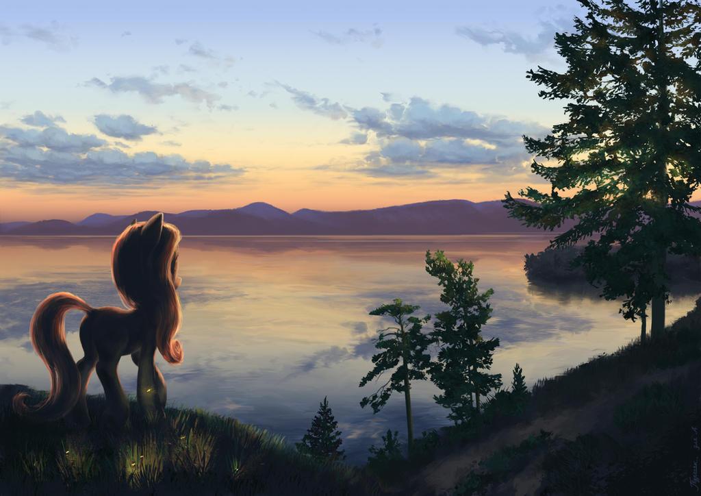 Pony at sunset by Hunternif