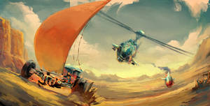 ArtDuel#1 Bedouin Air Pirates Attack Land Vessel by Hunternif
