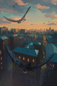 Swifts Flying Over Moscow