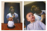 Paloma and the portrait of Maradona