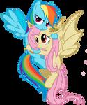 Flutterbat and Rainbow dash