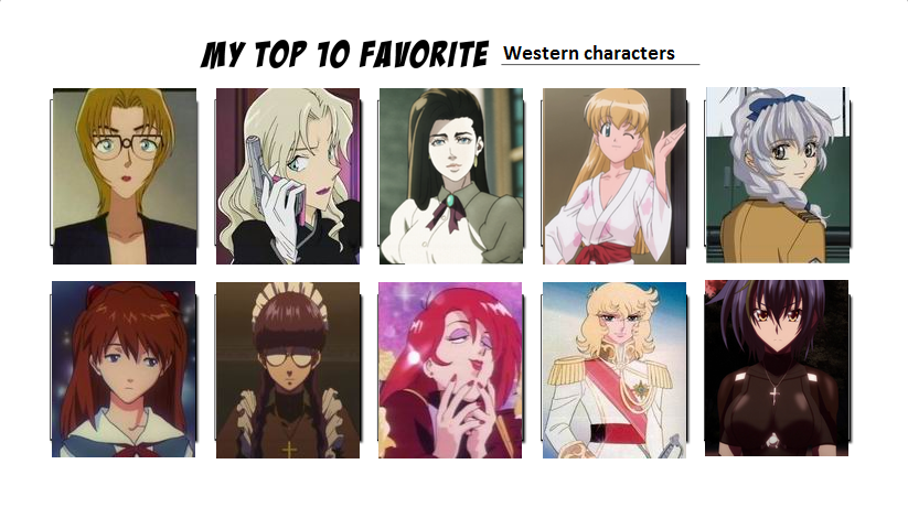 Top 6 Anime Characters : Top ten favorite western characters anime by