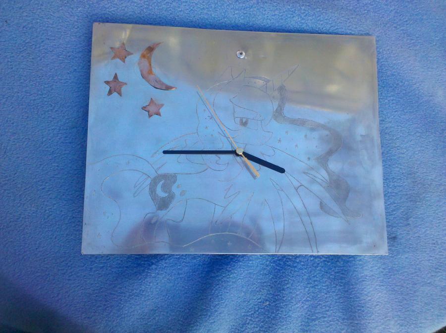 MLP FiM: Princess Luna engraved metal clock! by vulpinedesigns