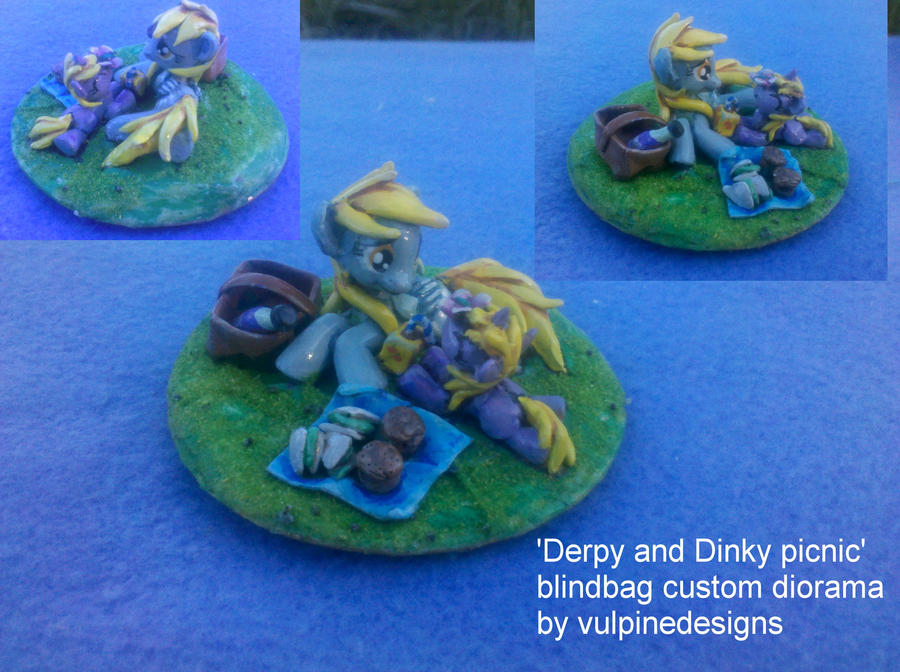 MLP custom diorama: Derpy and Dinky picnic! by vulpinedesigns