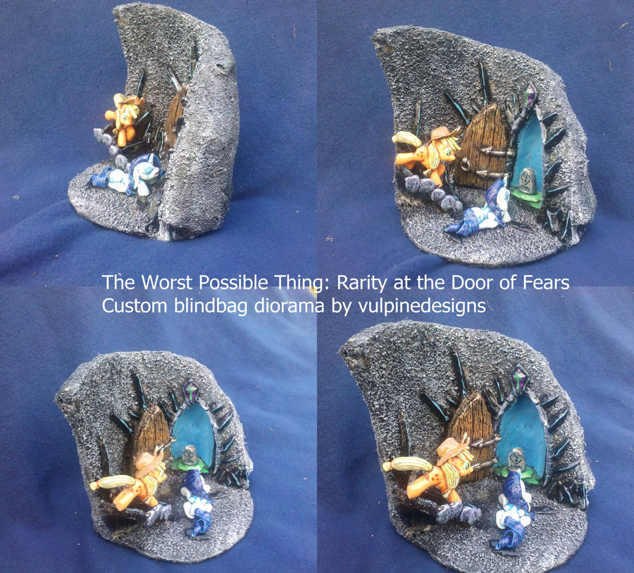 MLP FiM diorama: Rarity, AJ and the Door of Fears. by vulpinedesigns