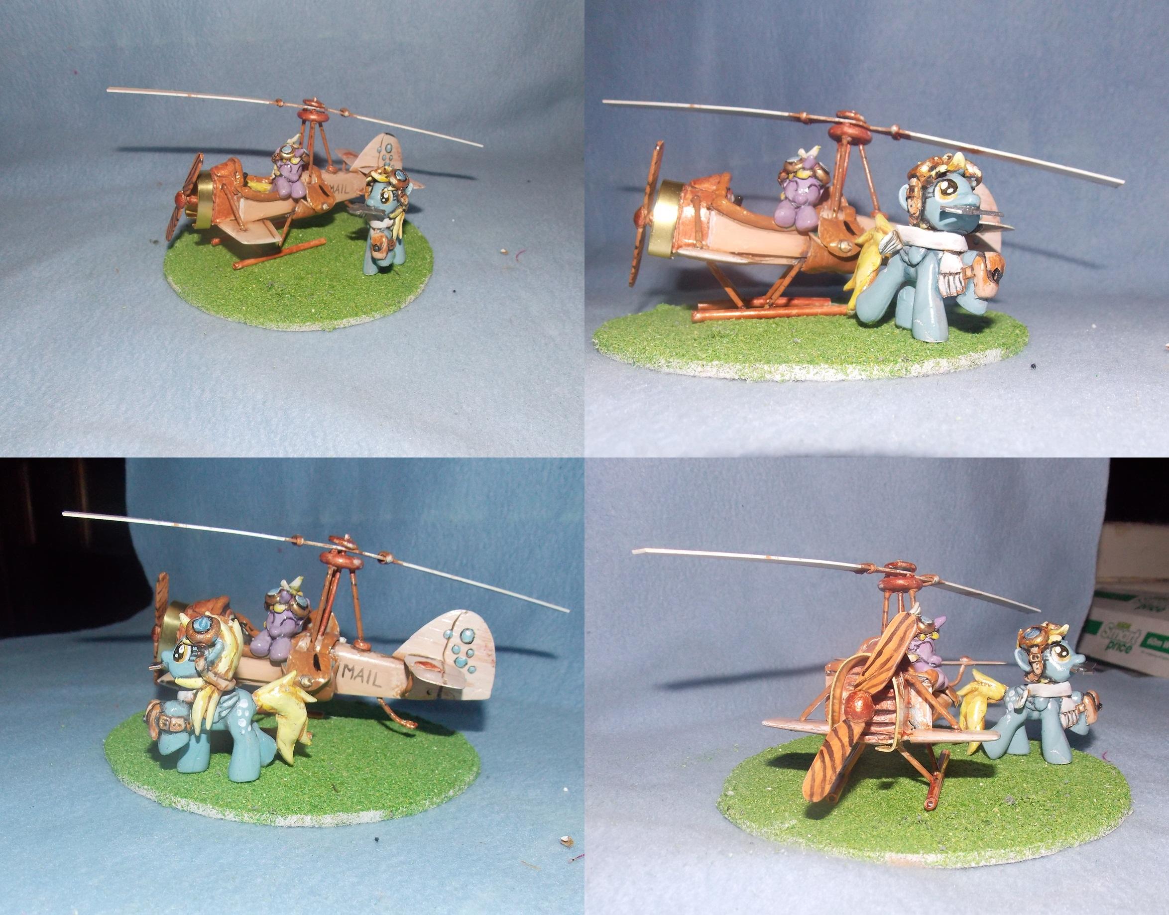 MLP FiM custom: Derpy, Dinky + steampunk autogiro! by vulpinedesigns