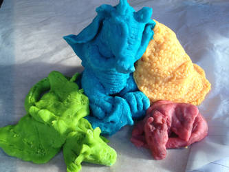 Sleepy Dragons - home made playdough by bezzlebez