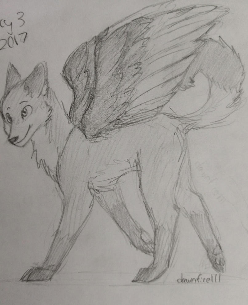 blue winged wolf by dawnfire111