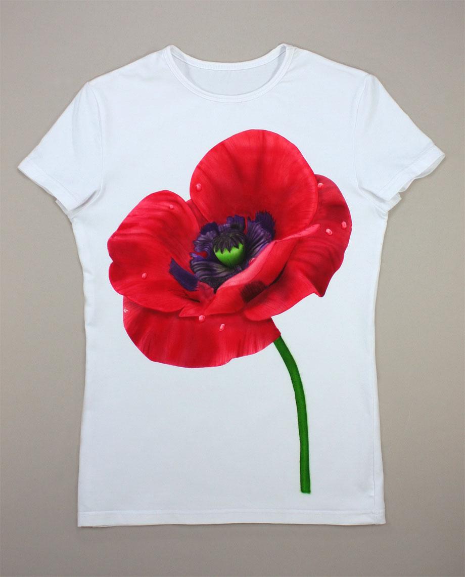 Цветок фото на футболке