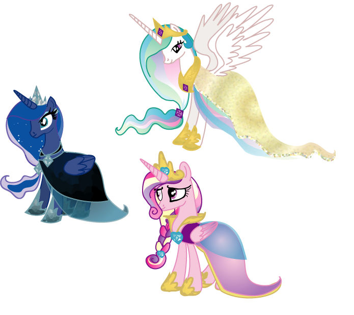Royal Alicorns' Gala Dresses by LottaPotatoSalad