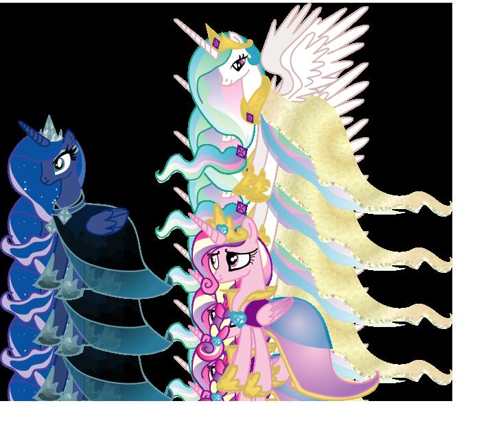 Royal Alicorns' Gala Dresses by LottaPotatoSalad
