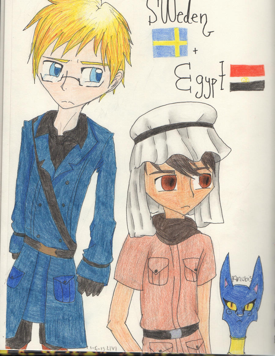 Sweden and Egypt by Potato-Kitten