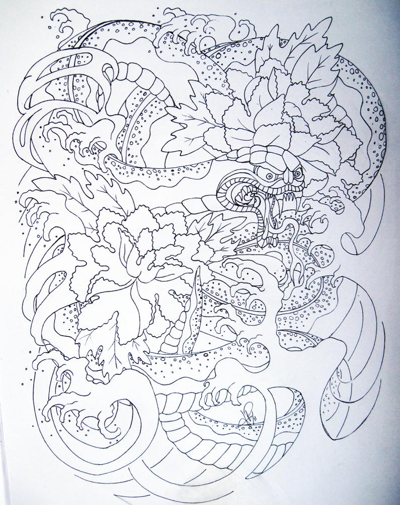 Japanese snake by Skelos