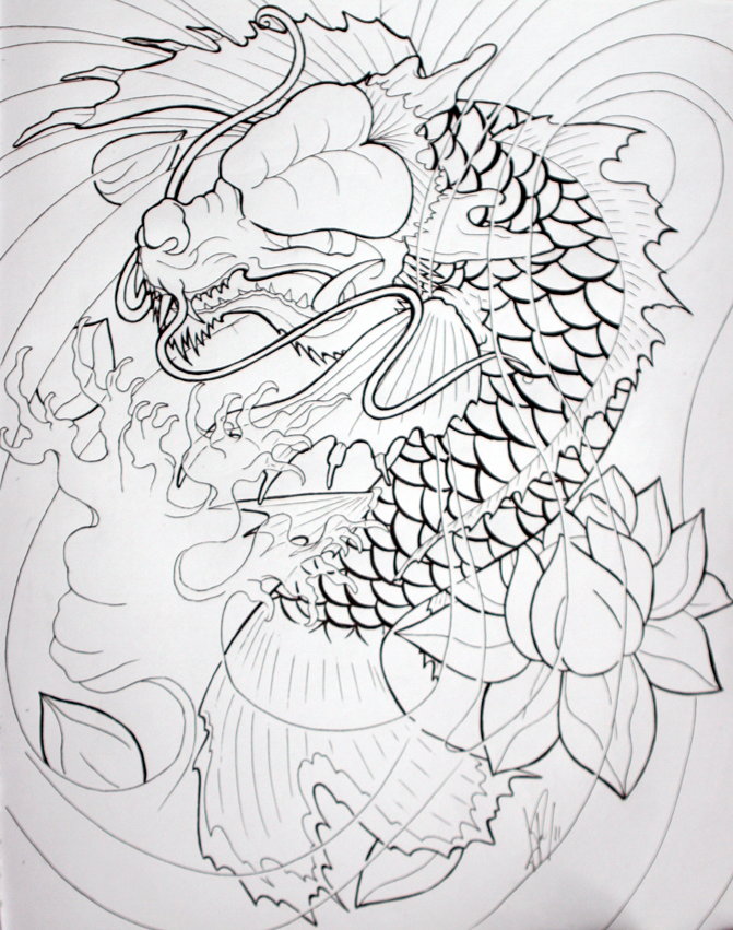 Japanese drawings of koi fish japanese koi fish tattoo for Japanese koi dragon