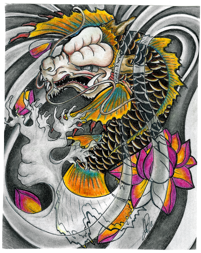 Dragon Koi with colour by Skelos