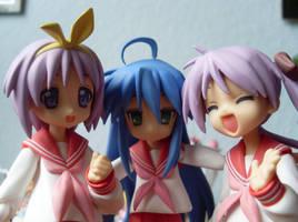 Hiiragi Twins and Konata by Mako-chan89