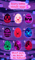 Scary little Clown Eggs! $6 dollars and 69 cents