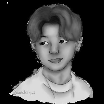 Jimin Digital Sketch Black White By Nunchisai On Deviantart