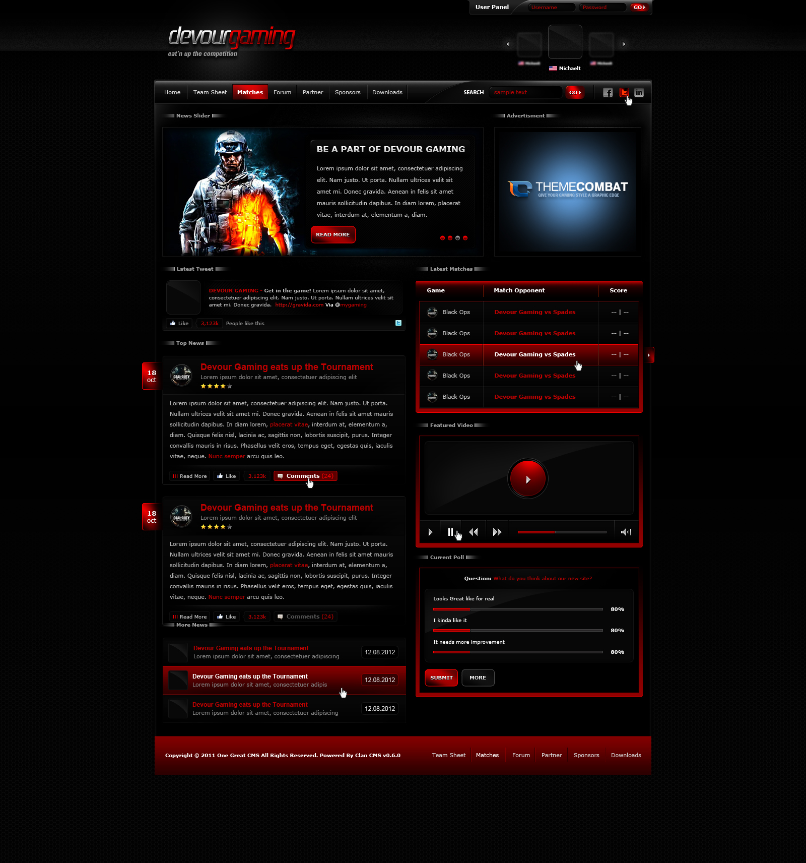Devour gaming template by michaeltinnin on deviantart for Game maker templates download