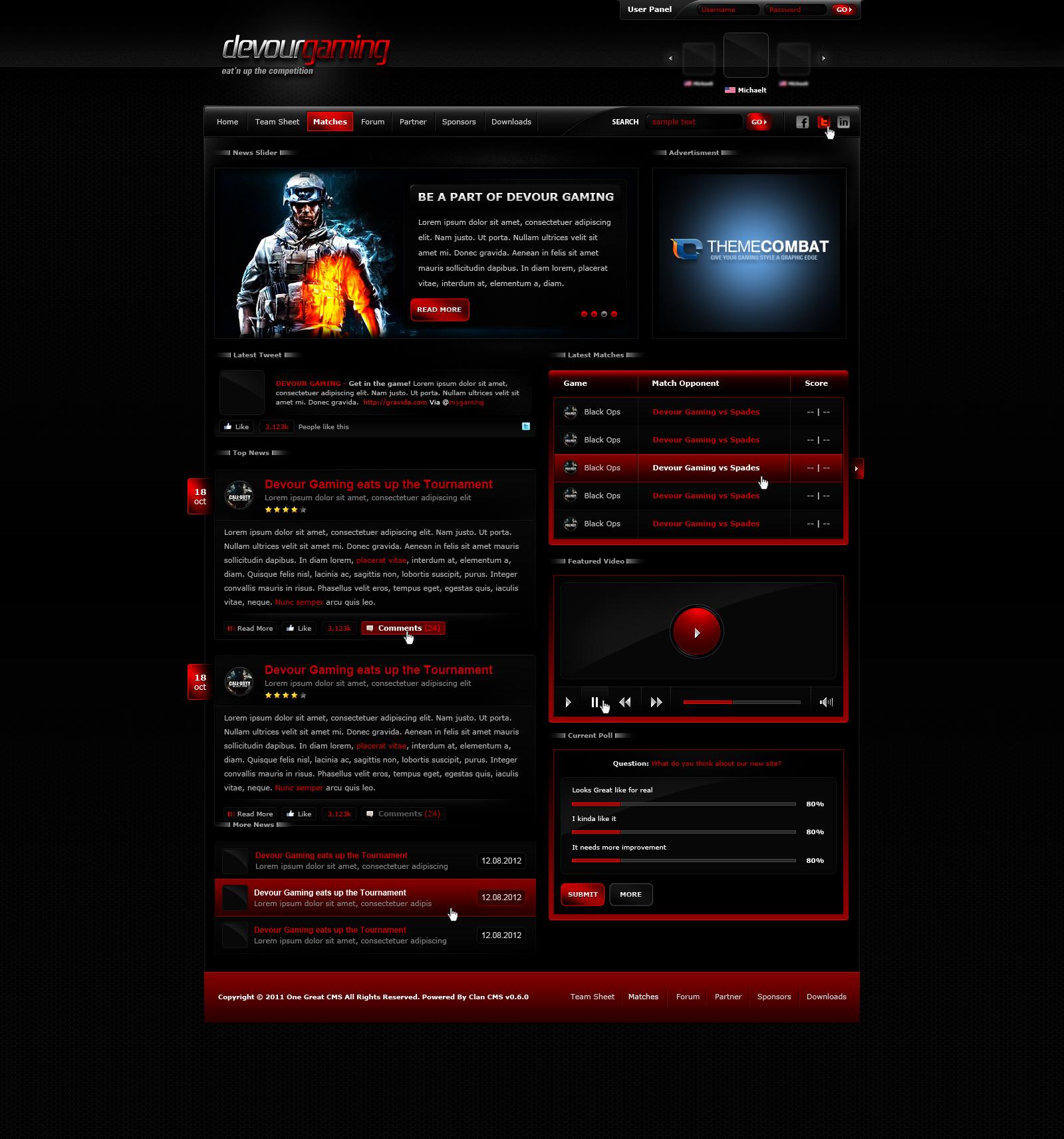 Devour Gaming Template by michaeltinnin on DeviantArt