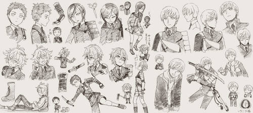 Toushirou Sketches by grimay