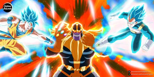 THANOS vs Goku and Vegeta = COMMISSION by CartoonArtworks