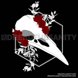 Raven Skull with Roses and Leaves