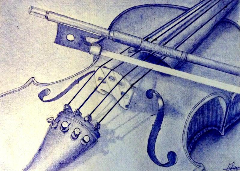 Violin pen drawing by zhav0rsa on DeviantArt