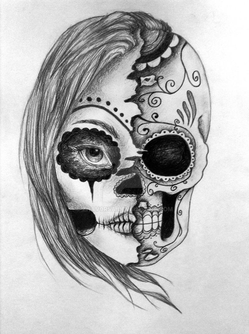 Half face / half skull by zhav0rsa on DeviantArt